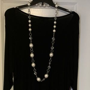 Long large pearl necklace